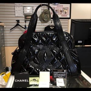 Chanel Quilted Patent Leather Shopping Tote